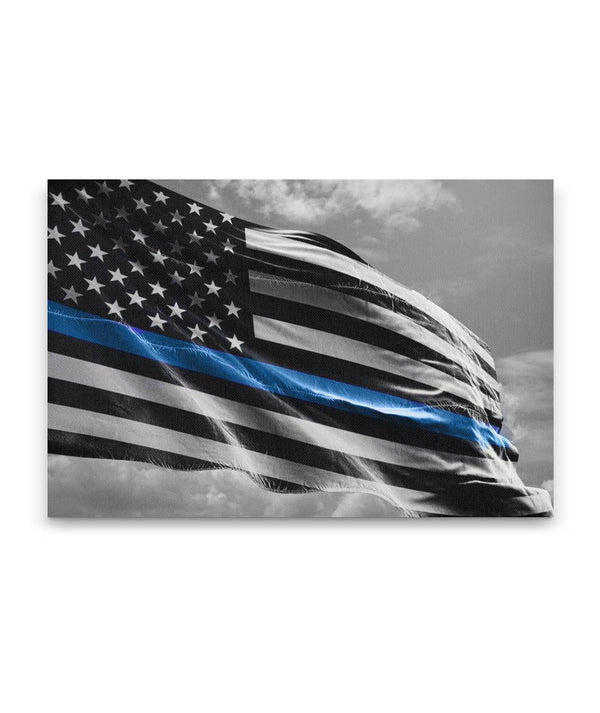 Thin Blue Line Flag Waving Canvas Decor ViralStyle Premium OS Canvas - Landscape 18x12*