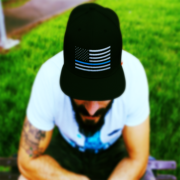 Thin Blue Line Flat Bill Twill Flexfit Hat Hats CustomCat