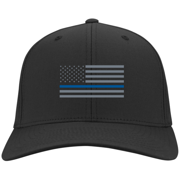 Thin Blue Line Flexfit Hat Hats CustomCat Black S/M