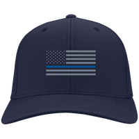 Thin Blue Line Flexfit Hat Hats CustomCat True Navy S/M
