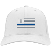 Thin Blue Line Flexfit Hat Hats CustomCat White S/M