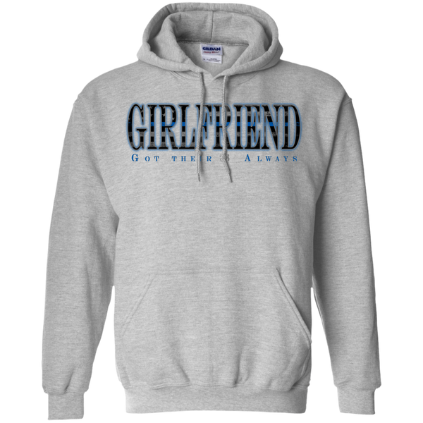 Thin Blue Line Girlfriend Hoodie Sweatshirts CustomCat Sport Grey Small