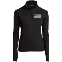 Thin Blue Line Ladies Performance Pullover Jackets CustomCat Black X-Small