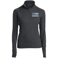 Thin Blue Line Ladies Performance Pullover Jackets CustomCat Charcoal Grey X-Small
