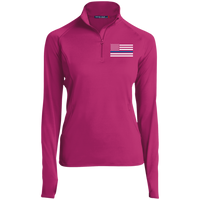 Thin Blue Line Ladies Performance Pullover Jackets CustomCat Pink Rush X-Small