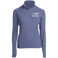 Thin Blue Line Ladies Performance Pullover Jackets CustomCat True Navy Heather X-Small