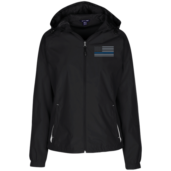 Thin Blue Line Ladies' Wind Breaker Jacket Warm Ups CustomCat Black/White X-Small