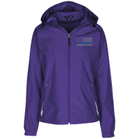 Thin Blue Line Ladies' Wind Breaker Jacket Warm Ups CustomCat Purple/White X-Small
