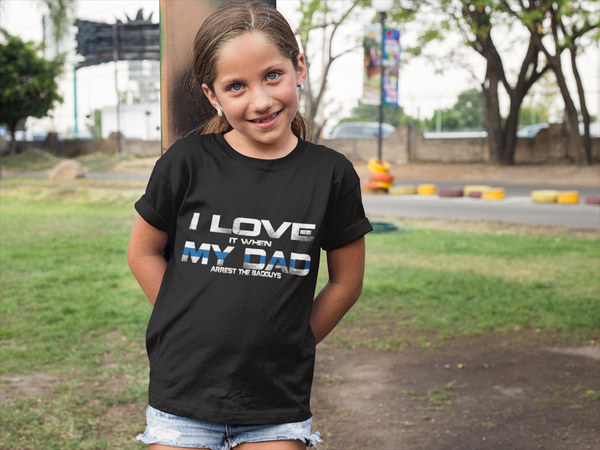Thin Blue Line Love My Dad Youth T-Shirt T-Shirts