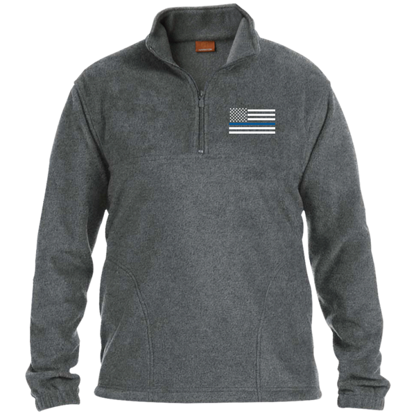 Thin Blue Line Men's Fleece Pullover Jackets CustomCat Charcoal Small