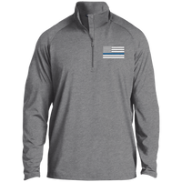 Thin Blue Line Men's Performance Pullover Jackets CustomCat Charcoal Grey Heather X-Small