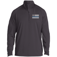 Thin Blue Line Men's Performance Pullover Jackets CustomCat Charcoal Grey X-Small
