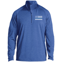 Thin Blue Line Men's Performance Pullover Jackets CustomCat Royal Heather X-Small