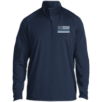 Thin Blue Line Men's Performance Pullover Jackets CustomCat True Navy X-Small