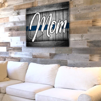 Thin Blue Line Mom Canvas Decor ViralStyle
