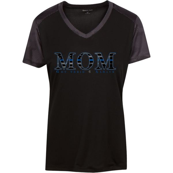 Thin Blue Line Mom (Got Their 6 Always) Athletic Shirt T-Shirts Black/Iron Grey X-Small