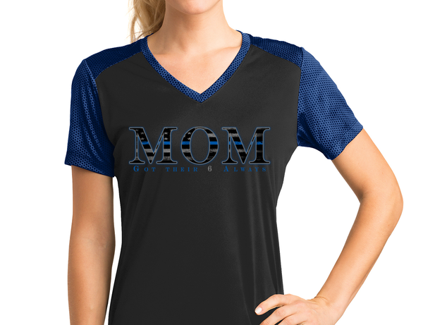 Thin Blue Line Mom (Got Their 6 Always) Athletic Shirt T-Shirts Black/True Royal X-Small