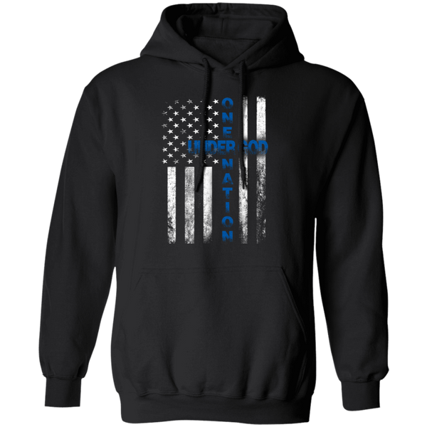 Thin Blue Line One Nation Under God Hoodie Sweatshirts Black S