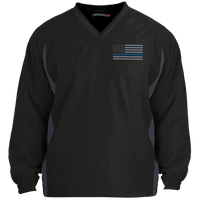 Thin Blue Line Pullover Windshirt Jackets CustomCat Black/Graphite X-Small