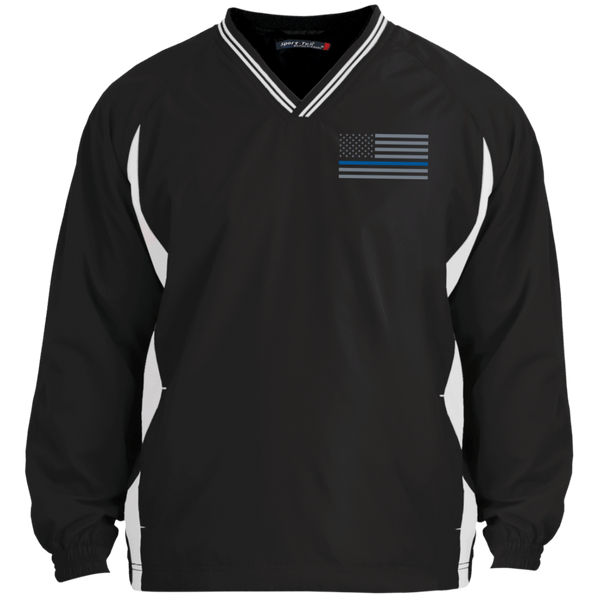Thin Blue Line Pullover Windshirt Jackets CustomCat Black/White X-Small