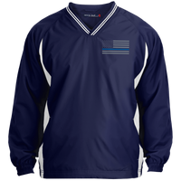 Thin Blue Line Pullover Windshirt Jackets CustomCat Navy/White X-Small
