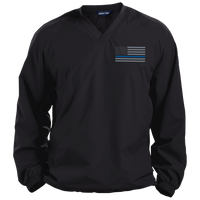 Thin Blue Line Solid Colored Pullover V-Neck Windshirt Jackets CustomCat Black X-Small