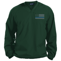 Thin Blue Line Solid Colored Pullover V-Neck Windshirt Jackets CustomCat Forest Green Small