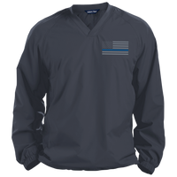 Thin Blue Line Solid Colored Pullover V-Neck Windshirt Jackets CustomCat Graphite Small