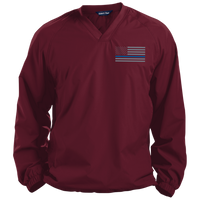 Thin Blue Line Solid Colored Pullover V-Neck Windshirt Jackets CustomCat Maroon Small