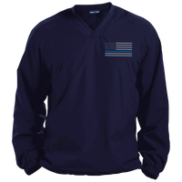 Thin Blue Line Solid Colored Pullover V-Neck Windshirt Jackets CustomCat True Navy X-Small