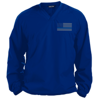 Thin Blue Line Solid Colored Pullover V-Neck Windshirt Jackets CustomCat True Royal Small