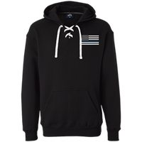 Thin Blue Line White Heavyweight Performance Hoodie Sweatshirts CustomCat Black X-Small