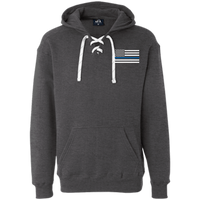 Thin Blue Line White Heavyweight Performance Hoodie Sweatshirts CustomCat Charcoal Heather X-Small