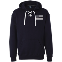 Thin Blue Line White Heavyweight Performance Hoodie Sweatshirts CustomCat Navy X-Small