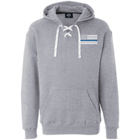 Thin Blue Line White Heavyweight Performance Hoodie Sweatshirts CustomCat Oxford X-Small