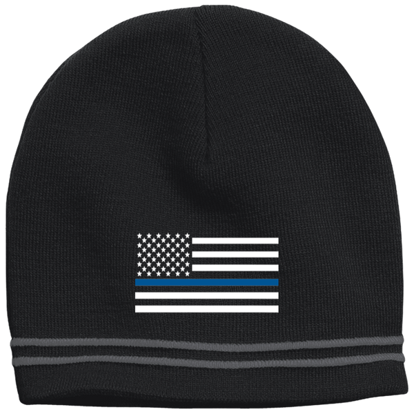 Thin Blue Line White-Striped Beanie Cap Hats CustomCat Black/Iron Grey One Size