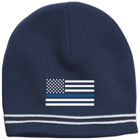 Thin Blue Line White-Striped Beanie Cap Hats CustomCat True Navy/White One Size