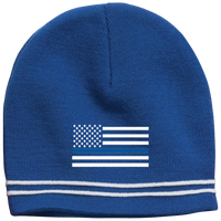 Thin Blue Line White-Striped Beanie Cap Hats CustomCat True Royal/White One Size