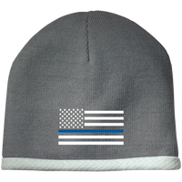 Thin Blue Line White-Striped Knit Beanie Cap Hats CustomCat Athletic Heather One Size