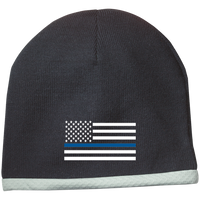 Thin Blue Line White-Striped Knit Beanie Cap Hats CustomCat Black One Size