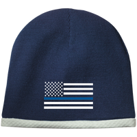 Thin Blue Line White-Striped Knit Beanie Cap Hats CustomCat True Navy One Size