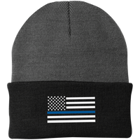 Thin Blue Line White-Striped Knit Cap Hats CustomCat Athletic Oxford/Black One Size