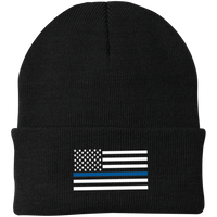 Thin Blue Line White-Striped Knit Cap Hats CustomCat Black One Size