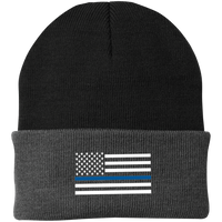 Thin Blue Line White-Striped Knit Cap Hats CustomCat Black/Athletic Oxford One Size