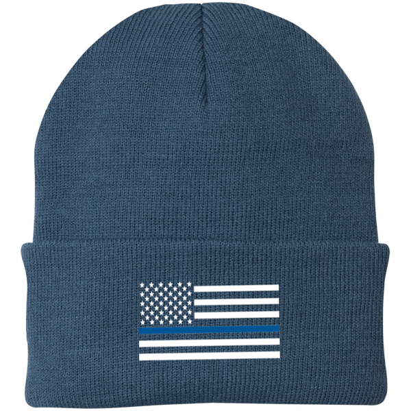 Thin Blue Line White-Striped Knit Cap Hats CustomCat Millennium Blue One Size