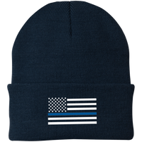 Thin Blue Line White-Striped Knit Cap Hats CustomCat Navy One Size