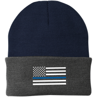 Thin Blue Line White-Striped Knit Cap Hats CustomCat Navy/Athletic Oxford One Size