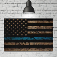 Thin Blue Line Woodgrain Canvas Decor ViralStyle