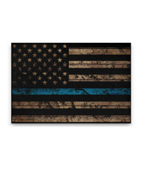 Thin Blue Line Woodgrain Canvas Decor ViralStyle Premium OS Canvas - Landscape 24x16*