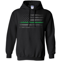 Thin Green Line Hoodie Sweatshirts CustomCat Black Small